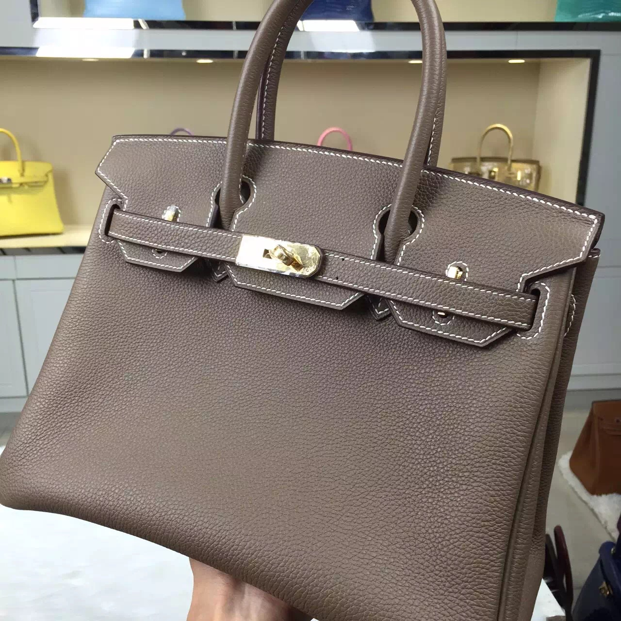 Luxury Ladies' Handbag Hermes CK18 Etoupe Grey Birkin Bag 30CM Togo Leather