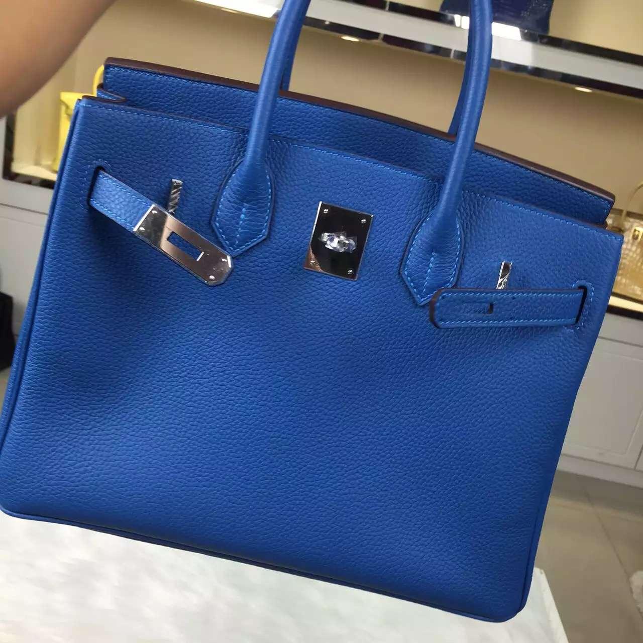 High Quality Hermes Original Togo Leather Birkin Bag in 7Q Mykono Blue 30CM
