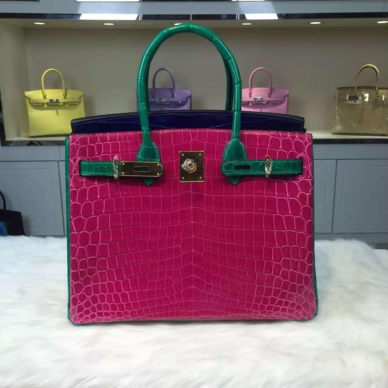 Hermes Color-blocking Original Crocodile Leather Birkin Bag Fashion Women's Handbag 30CM