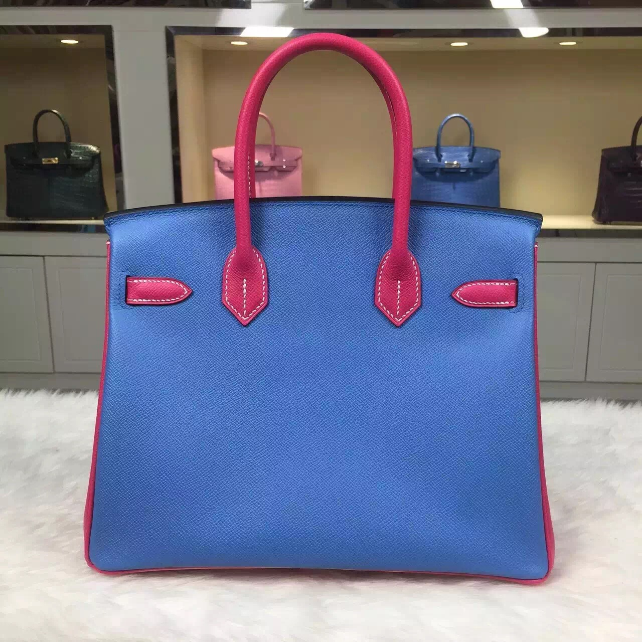 New Pretty Hermes Birkin Bag 30CM Color-blocking Epsom Leather Women's Tote Bag