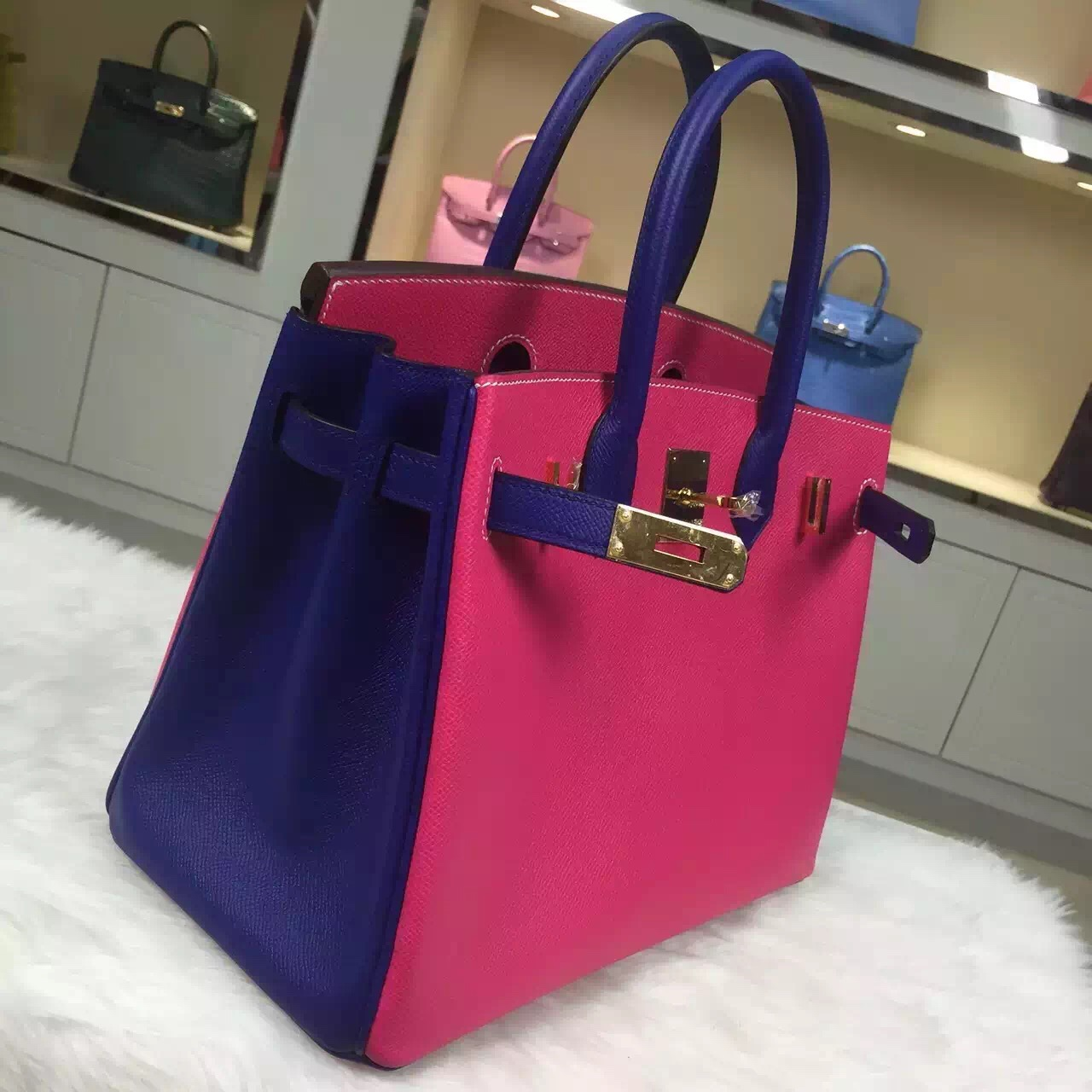 Discount Hermes E5 Candy Pink/7T Blue Electric Epsom Leather Birkin Bag 30CM