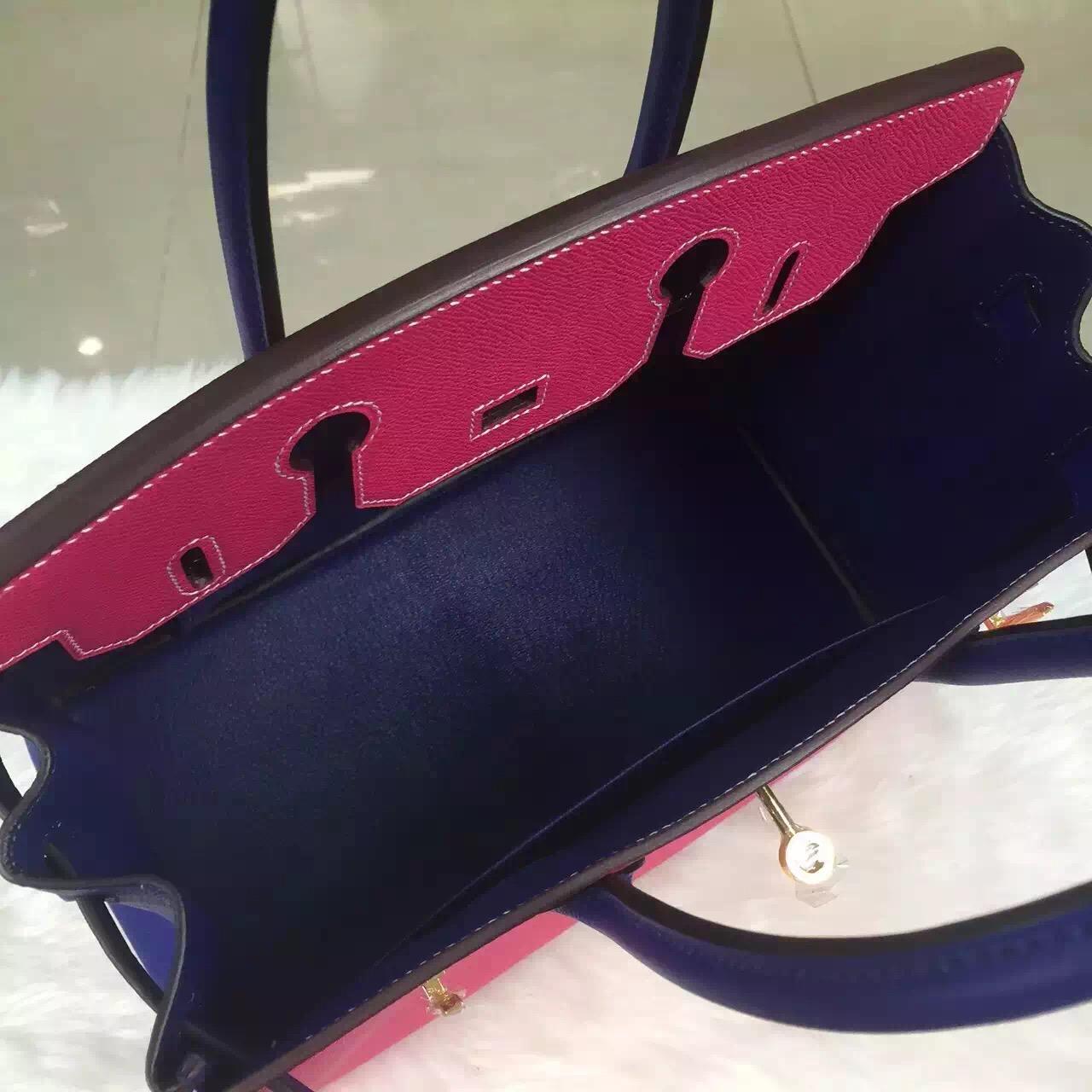 Discount Hermes E5 Candy Pink/7T Blue Electric Epsom Leather Birkin Bag 30CM