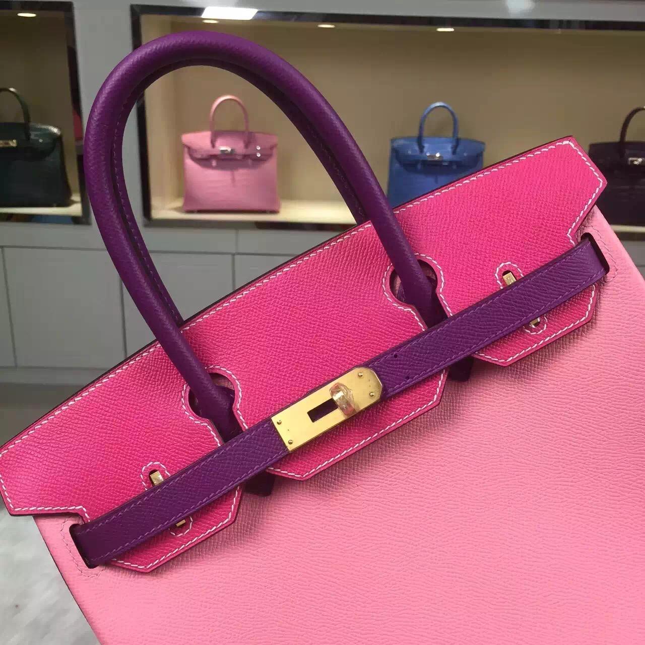 Hand Stitching Hermes Birkin Bag 30CM Multi-color Epsom Leather Women's Handbag