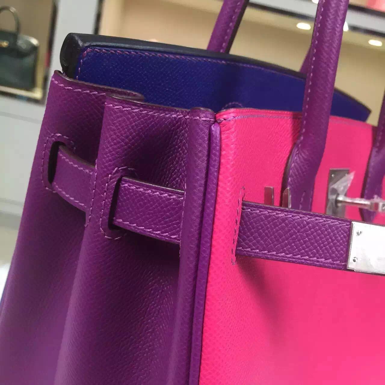 Wholesale Hermes Three-color Epsom Leather Birkin Bag 30CM Silver Hardware