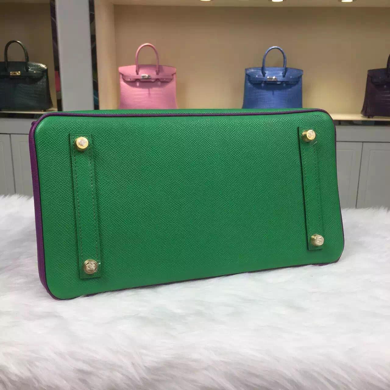 Wholesale Hermes Epsom Leather Birkin Bag 30CM 1K Bamboo Green & P9 Anemone Purple