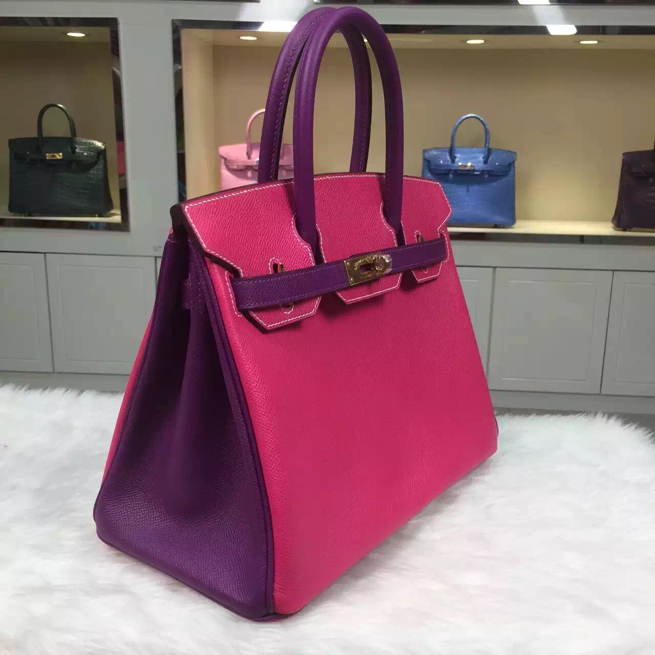 Luxury Hermes Birkin Bag 30CM E5 Candy Pink/P9 Anemone Purple Epsom Leather