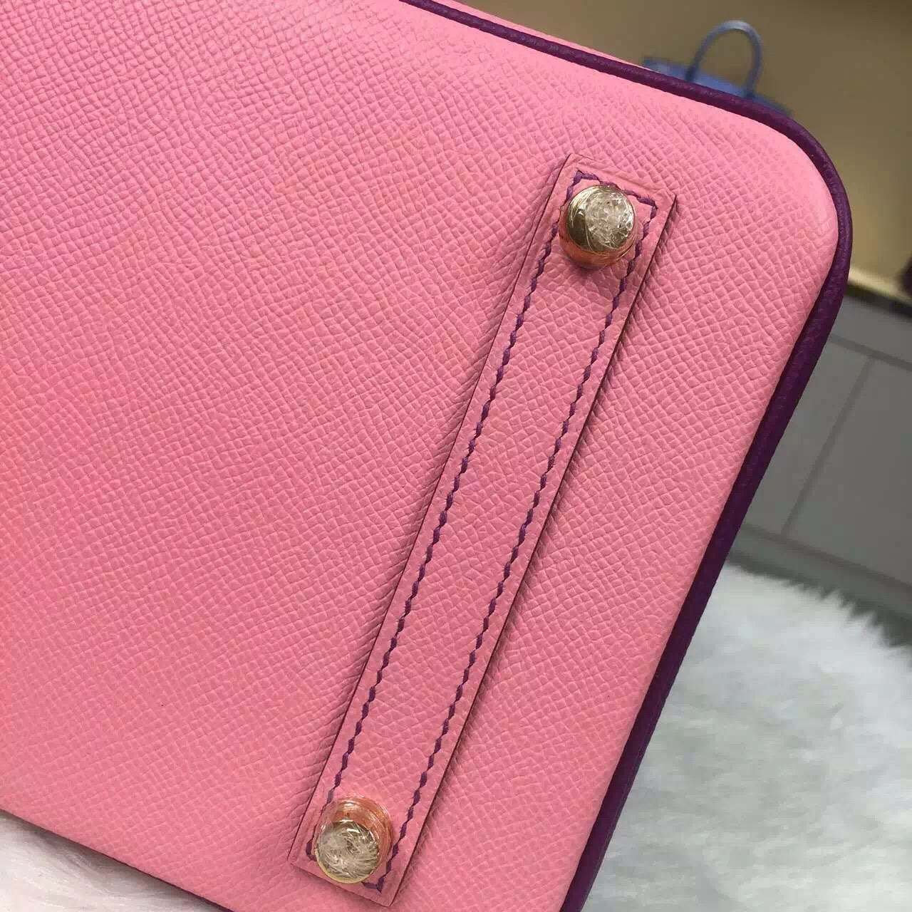 Hand Stitching Hermes 1Q Rose Confetti & P9 Anemone Purple Epsom Leather Birkin 30CM