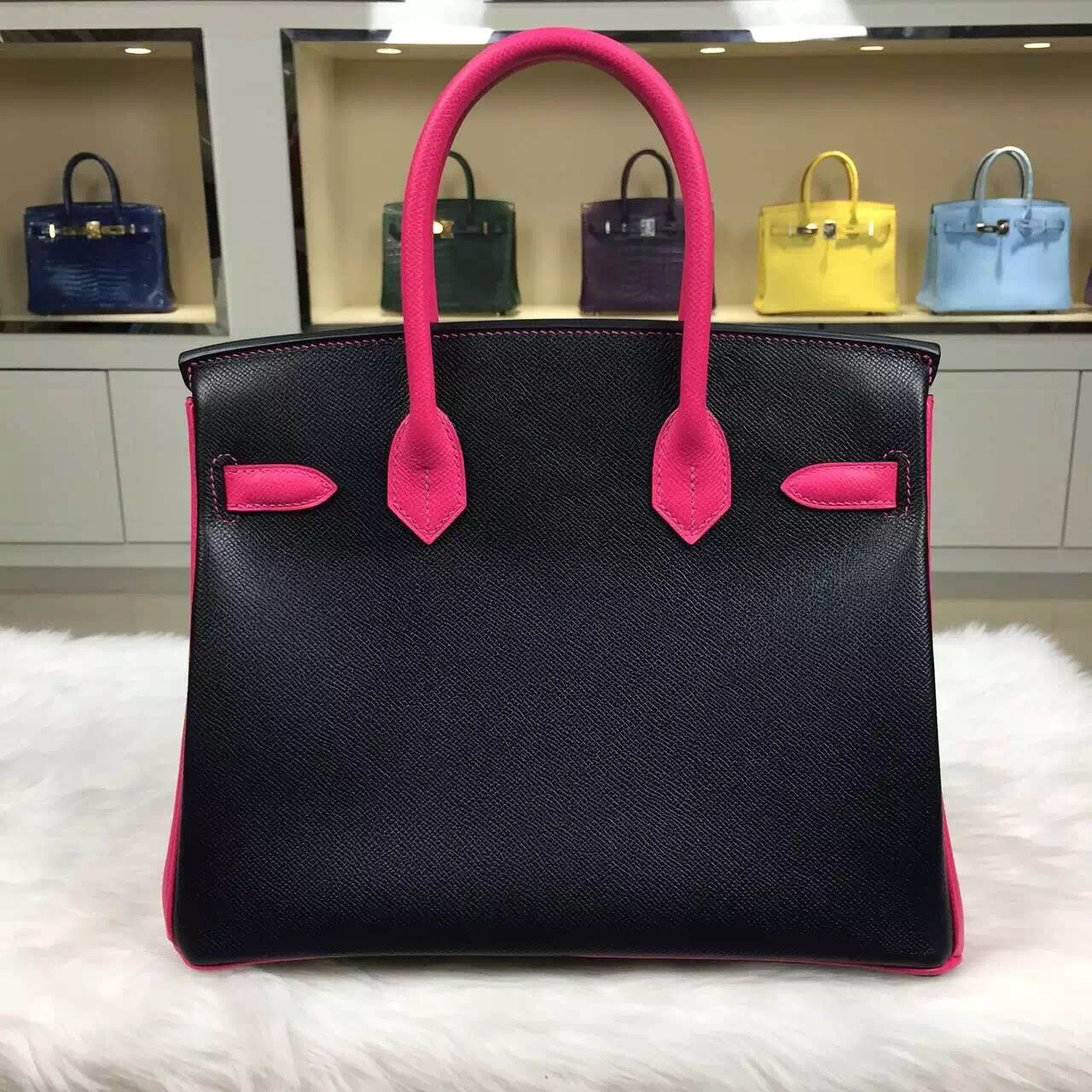 High Quality Hermes CK89 Black & E5 Candy Pink Epsom Leather Birkin30cm Gold Hardware