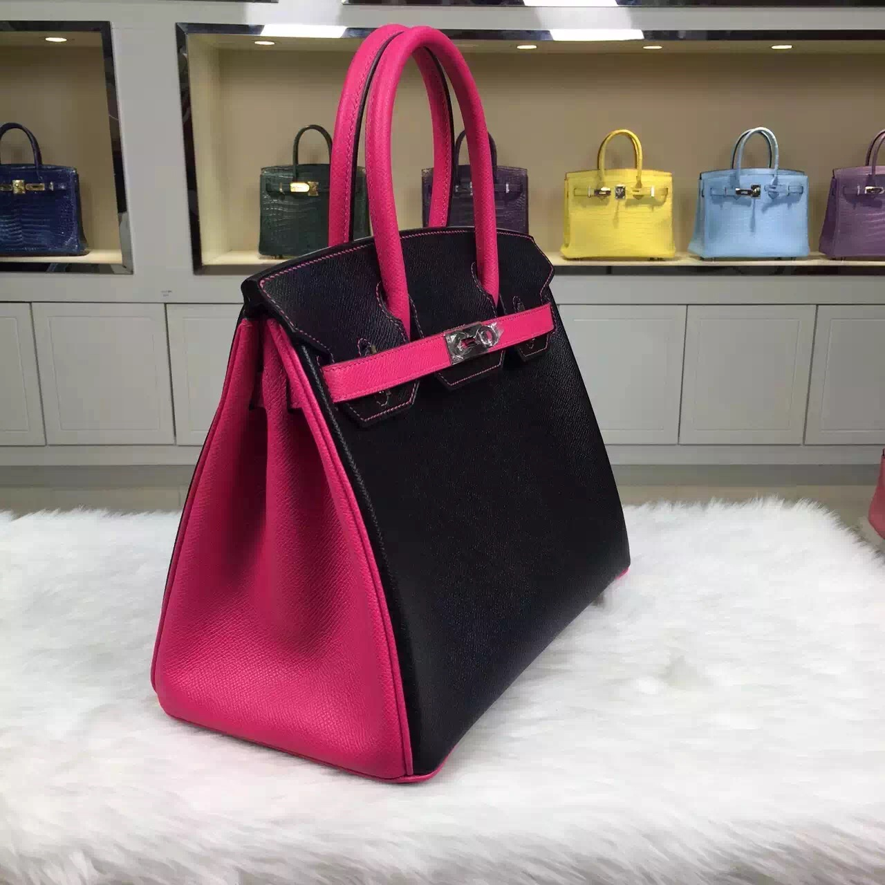 Hermes Birkin Bag30CM Two-tone Color CK89 Black/E5 Candy Pink Silver Hardware