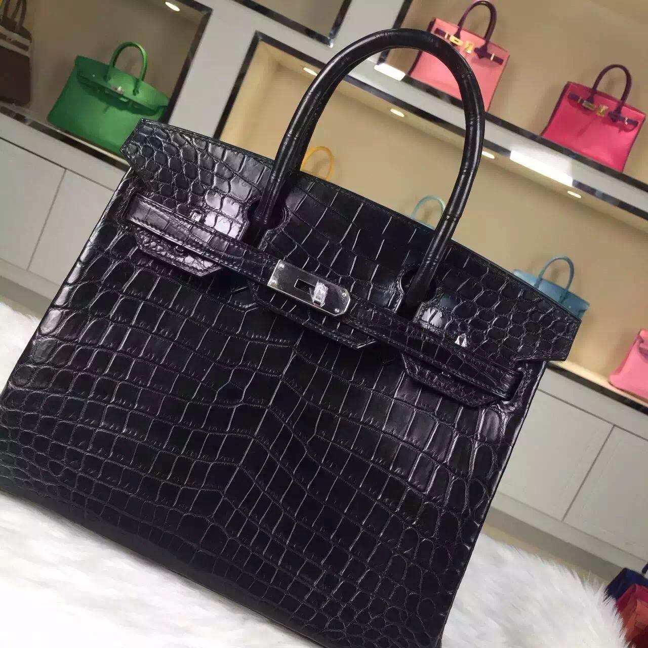 Discount Hermes Crocodile Leather Birkin Bag 30CM in CK89 Black Silver Hardware