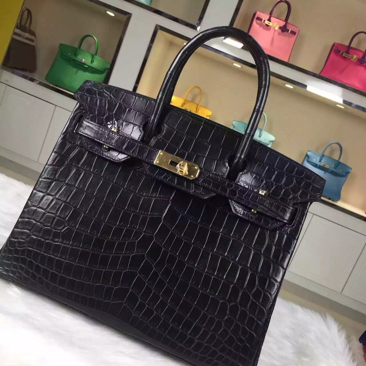Luxury Hermes Birkin Bag 30CM CK89 Black Crocodile Leather Fashion Women's Handbag