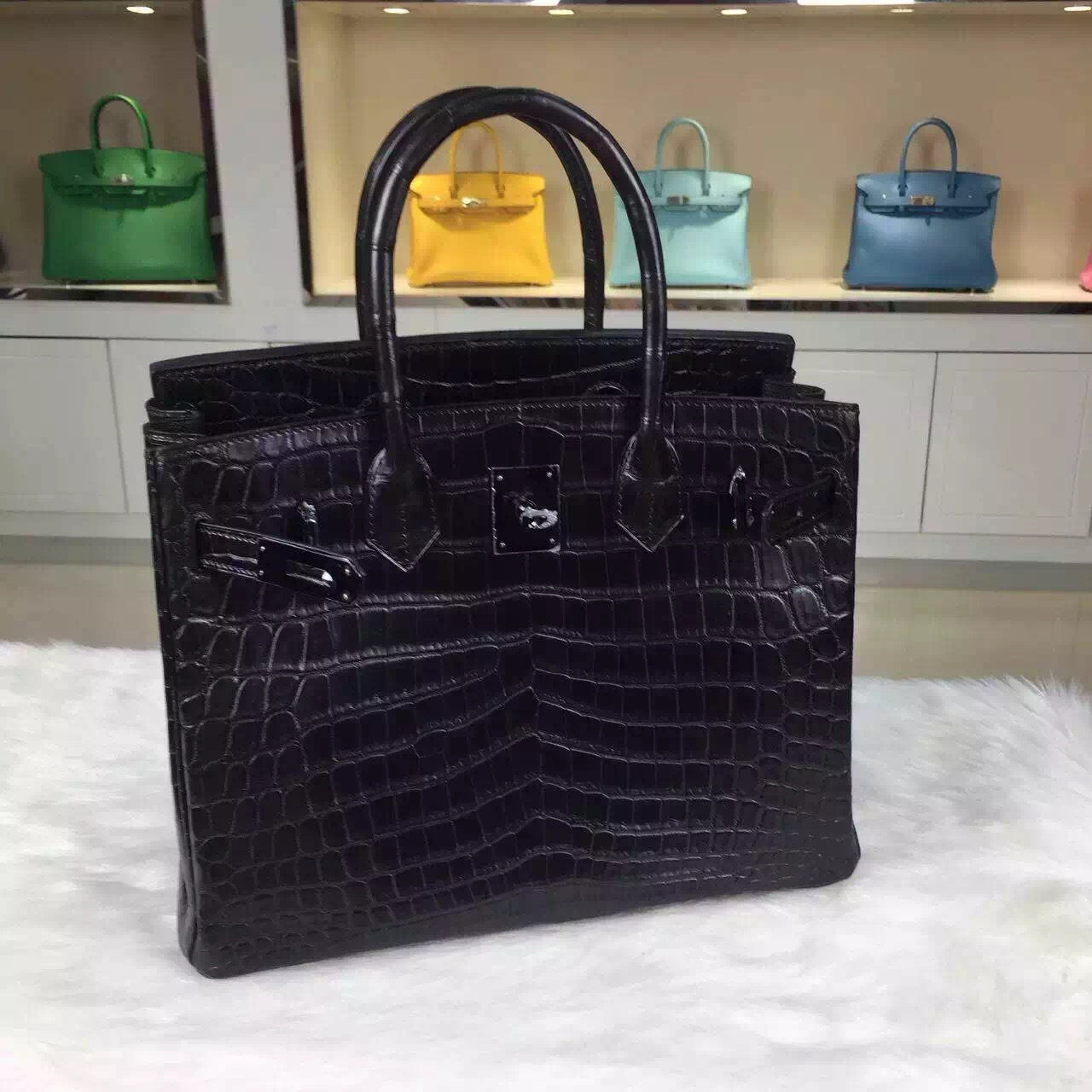 Elegant Women's Bag Hermes CK89 Black Crocodile Skin Birkin30CM Black Hardware
