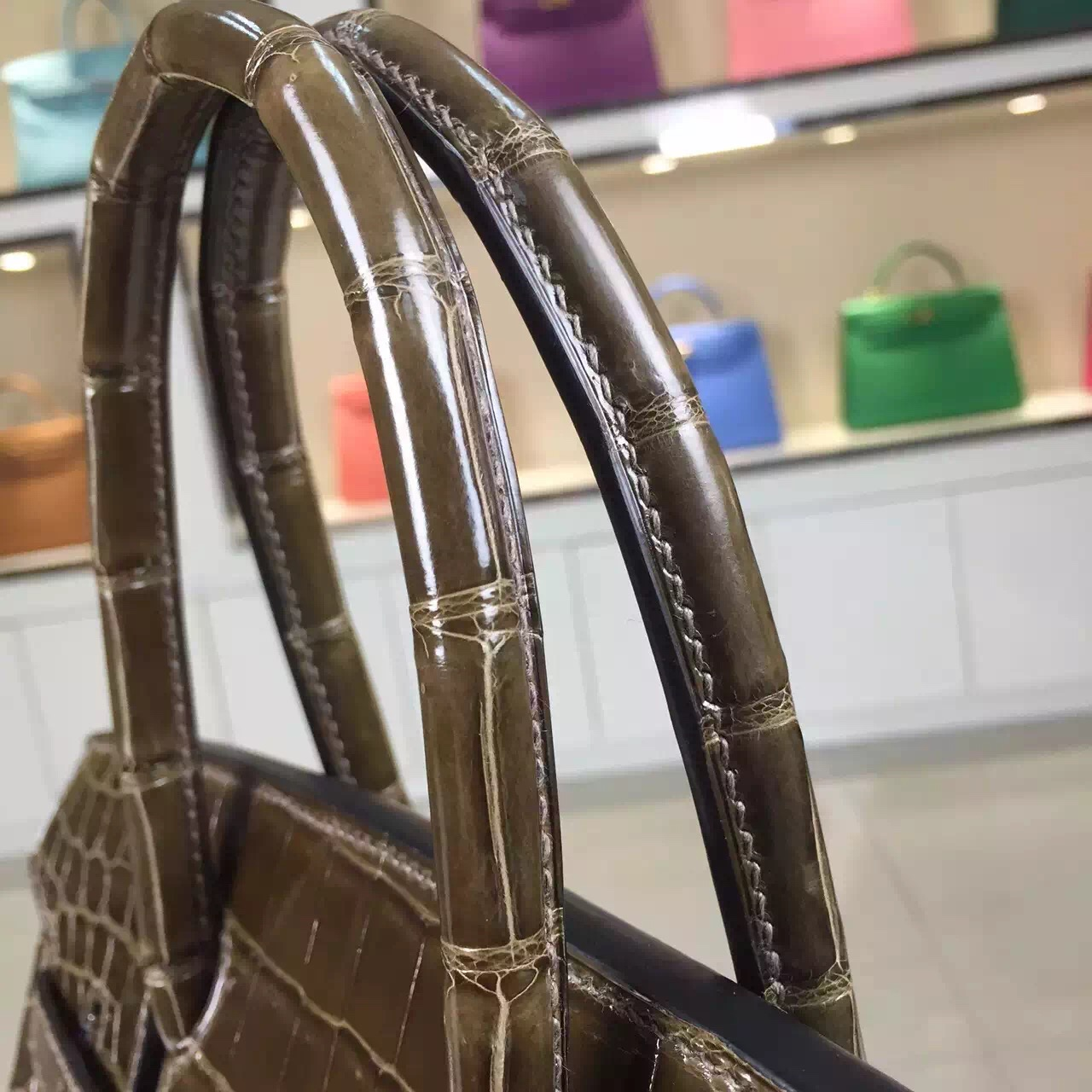 Wholesale Hermes 6H Olive Green Original Crocodile Leather Birkin Bag 30CM