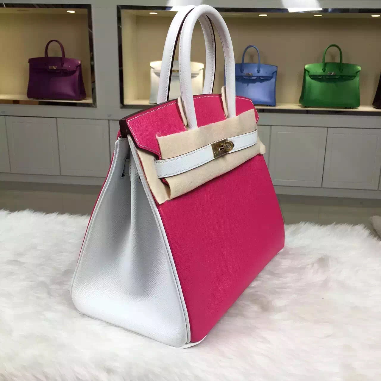 Hand Stitching Hermes Birkin Bag 30CM E5 Rose Tyrien & Pure White Epsom Leather