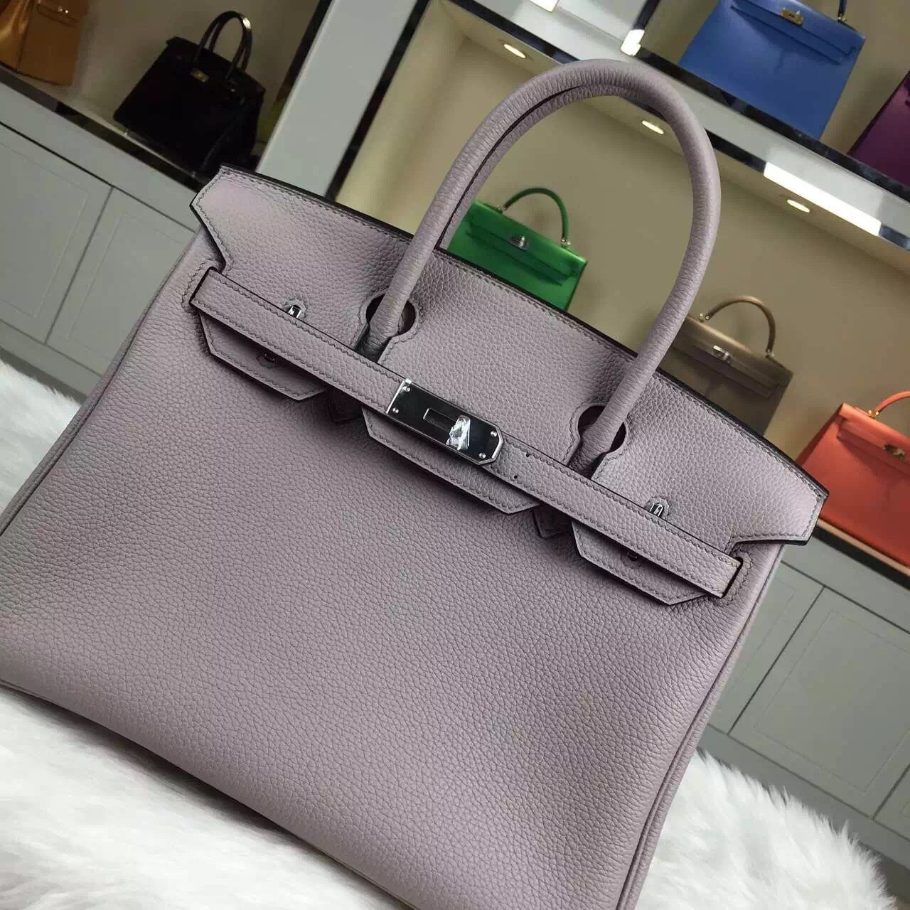 Hand Stitching Hermes Grey Blue Togo Leather Birkin Bag 30cm Women's Tote Bag