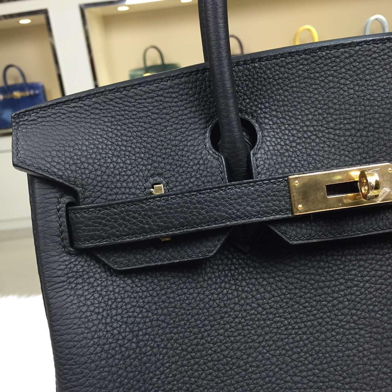 Luxury Hermes Birkin 30CM Black France Togo Leather Ladies' Tote Handbag
