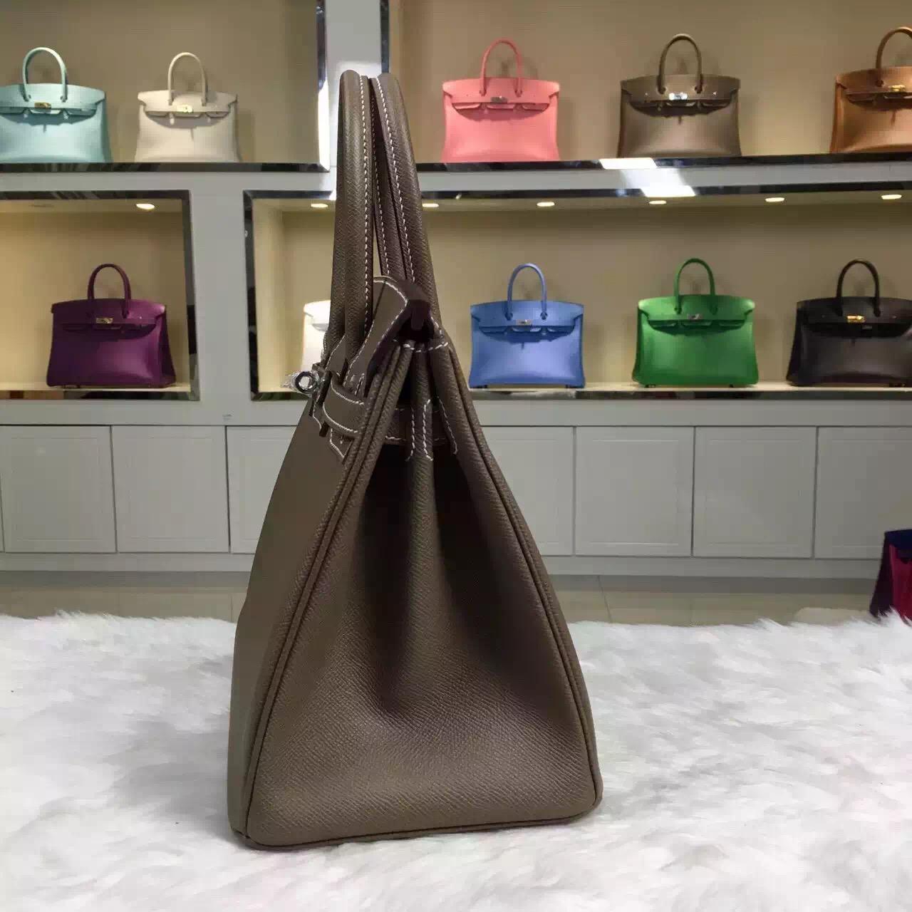 Hot Sale Hermes C81 Etoupe Grey Original Epsom Leather Birkin Bag 30cm