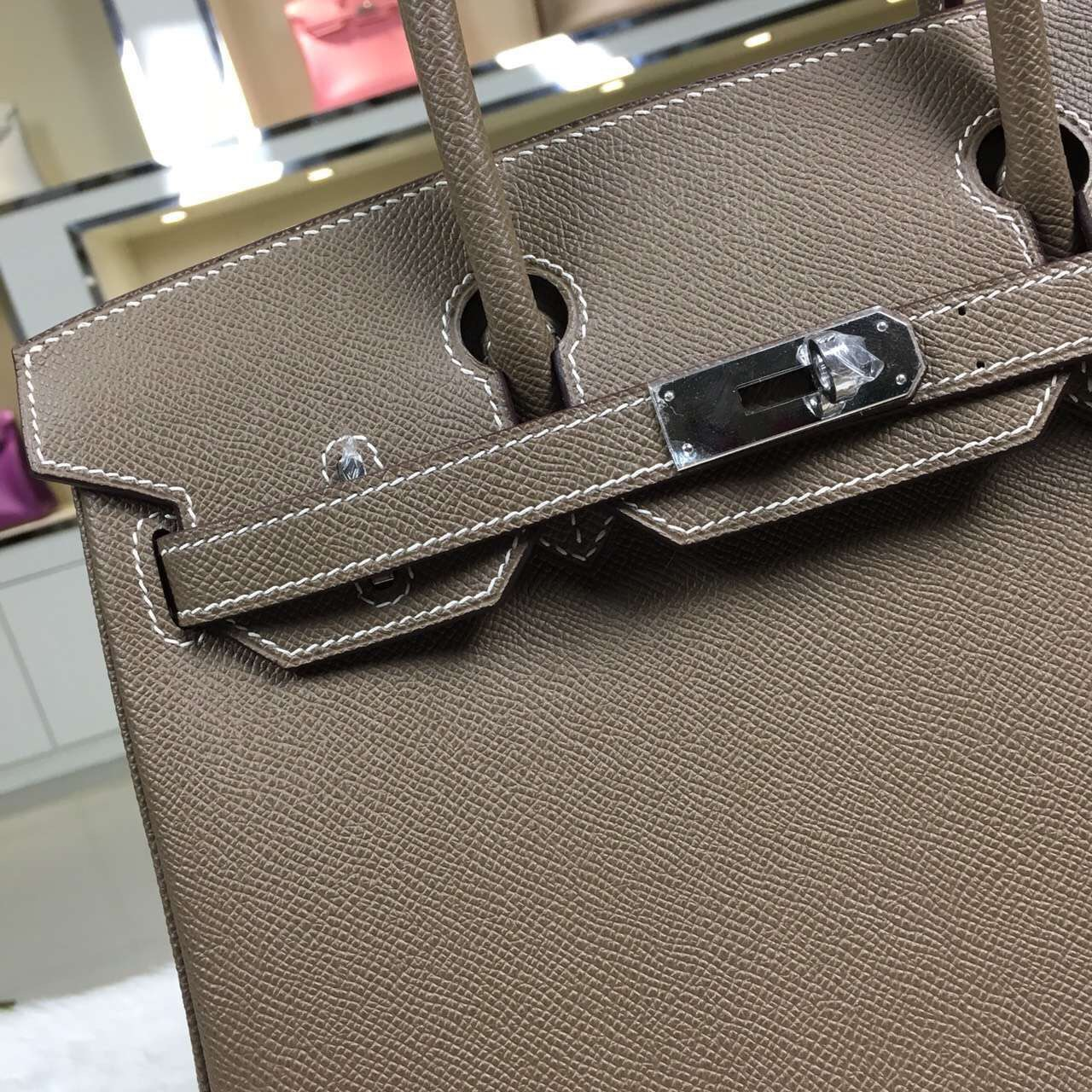 Hot Sale Hermes C81 Etoupe Grey Original Epsom Leather Birkin Bag 30cm