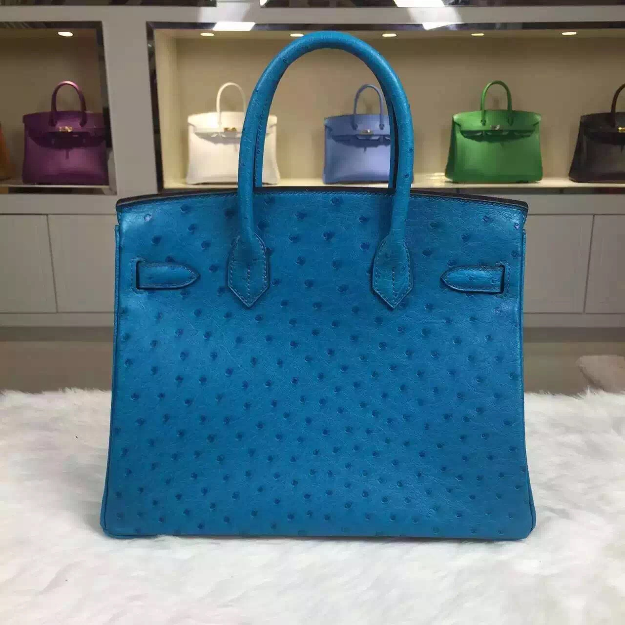 Fashion Hermes 7B Turquoise Blue France Ostrich Leather Birkin Bag 30cm Silver Hardware
