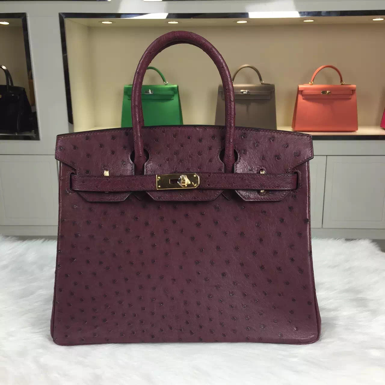 Hand Stitching Hermes Birkin30CM Bordeaux Red Ostrich Leather Women's Top Handles