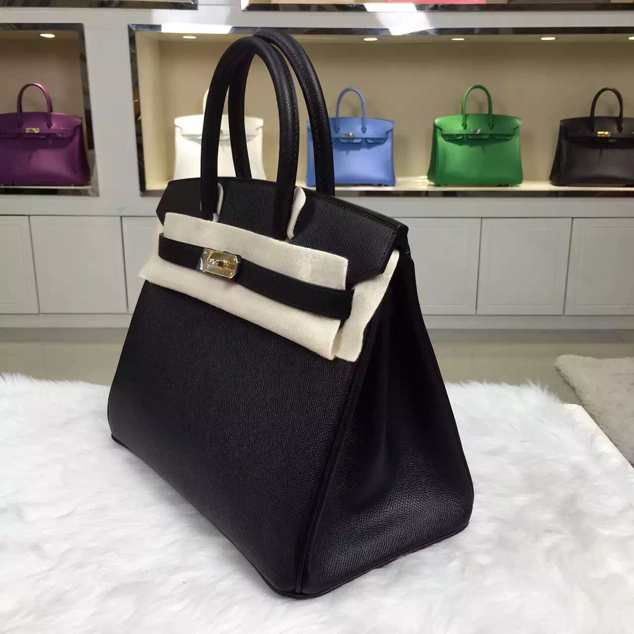 Discount Hermes Black Epsom Leather Birkin Bag 30cm Elegant Women's Tote Bag