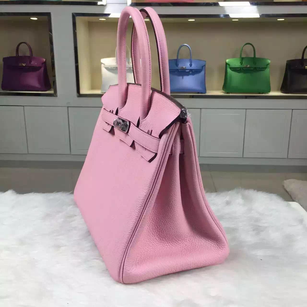 New Pretty Hermes Vip Customized 3Q Rose Sakura Togo Leather Birkin Handbag 30CM