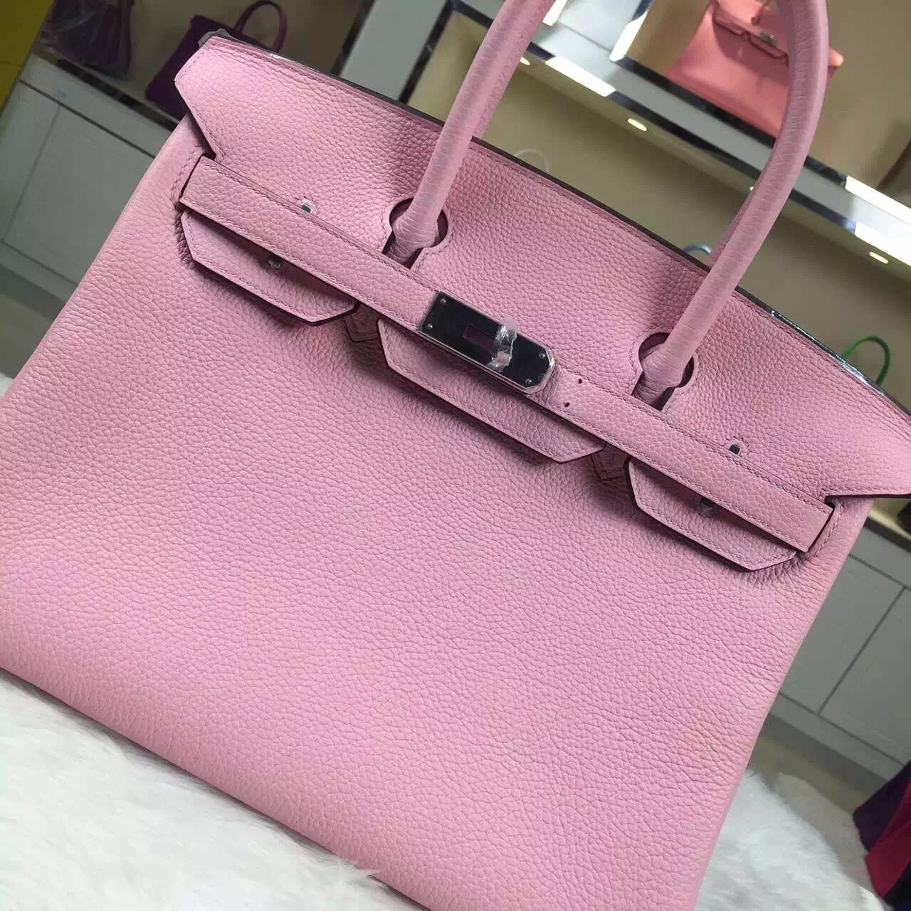 New Pretty Hermes Vip Customized 3Q Rose Sakura Togo Leather Birkin Handbag 30CM