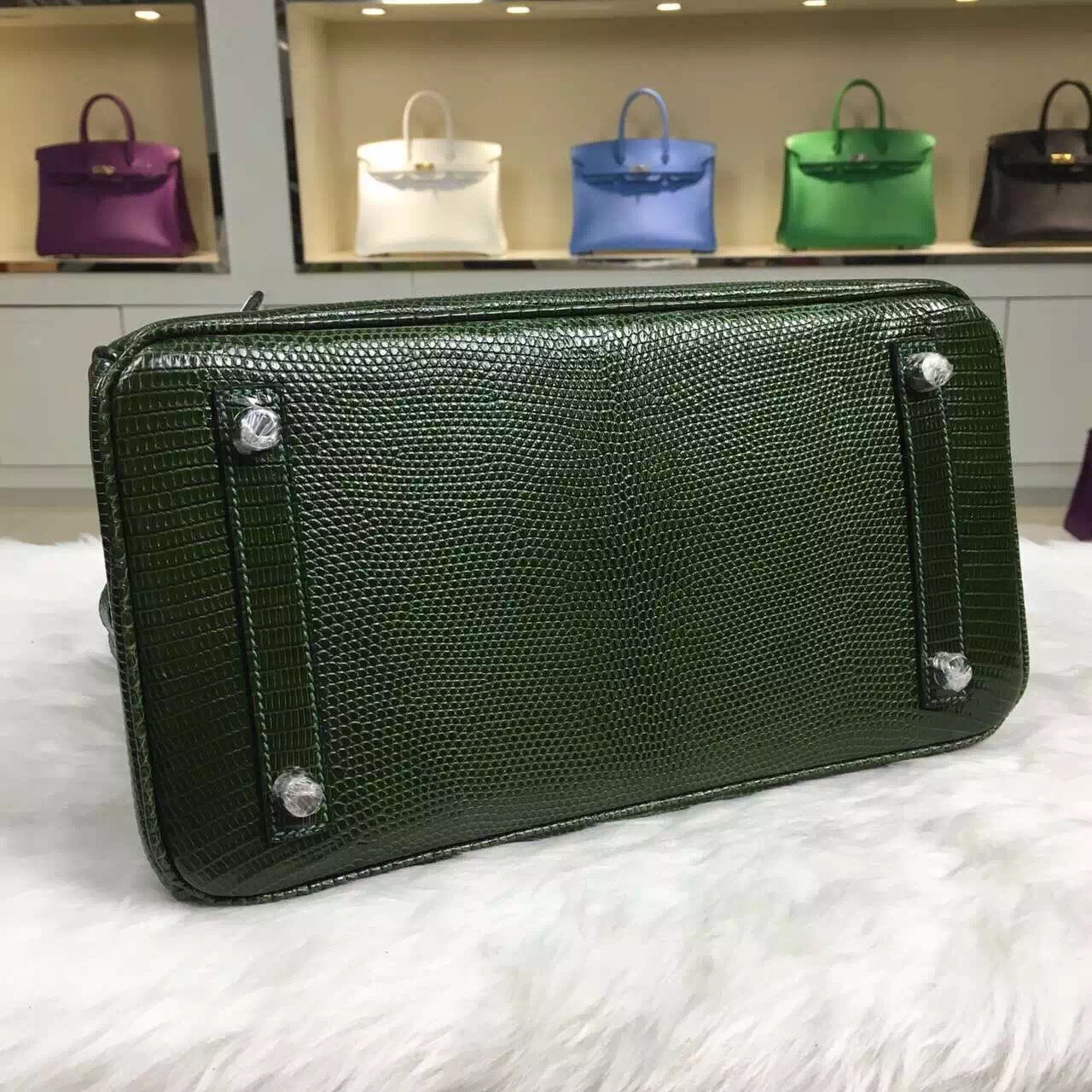 Hand Stitching Hermes Original Lizard Skin Birkin Bag 30CM in Dark Green