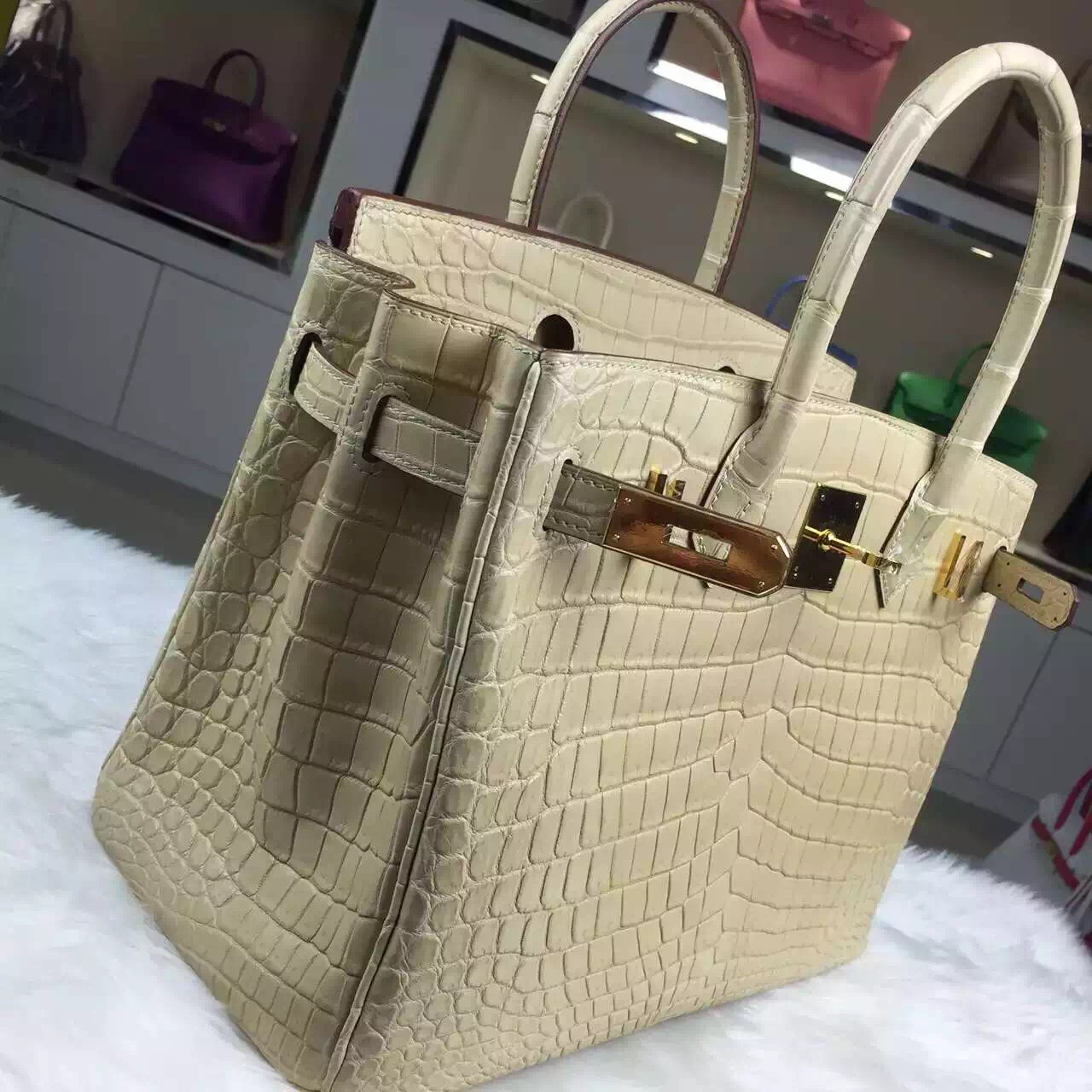 Discount Hermes Crocodile Matt Leather Birkin Bag 30CM in Apricot Ladies' Tote Bag