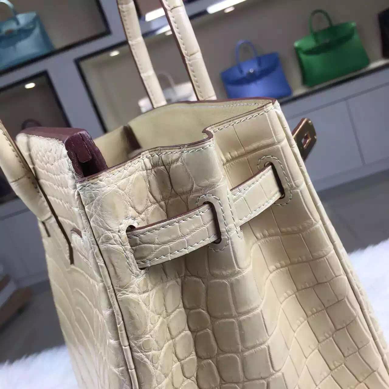 Discount Hermes Crocodile Matt Leather Birkin Bag 30CM in Apricot Ladies' Tote Bag
