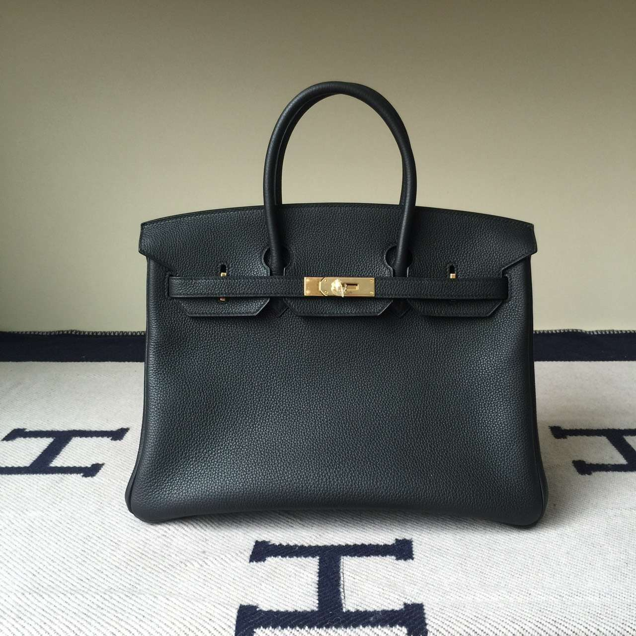 Hermes Classic Handbag Togo Calf  Leather Birkin35cm in CK89 Black