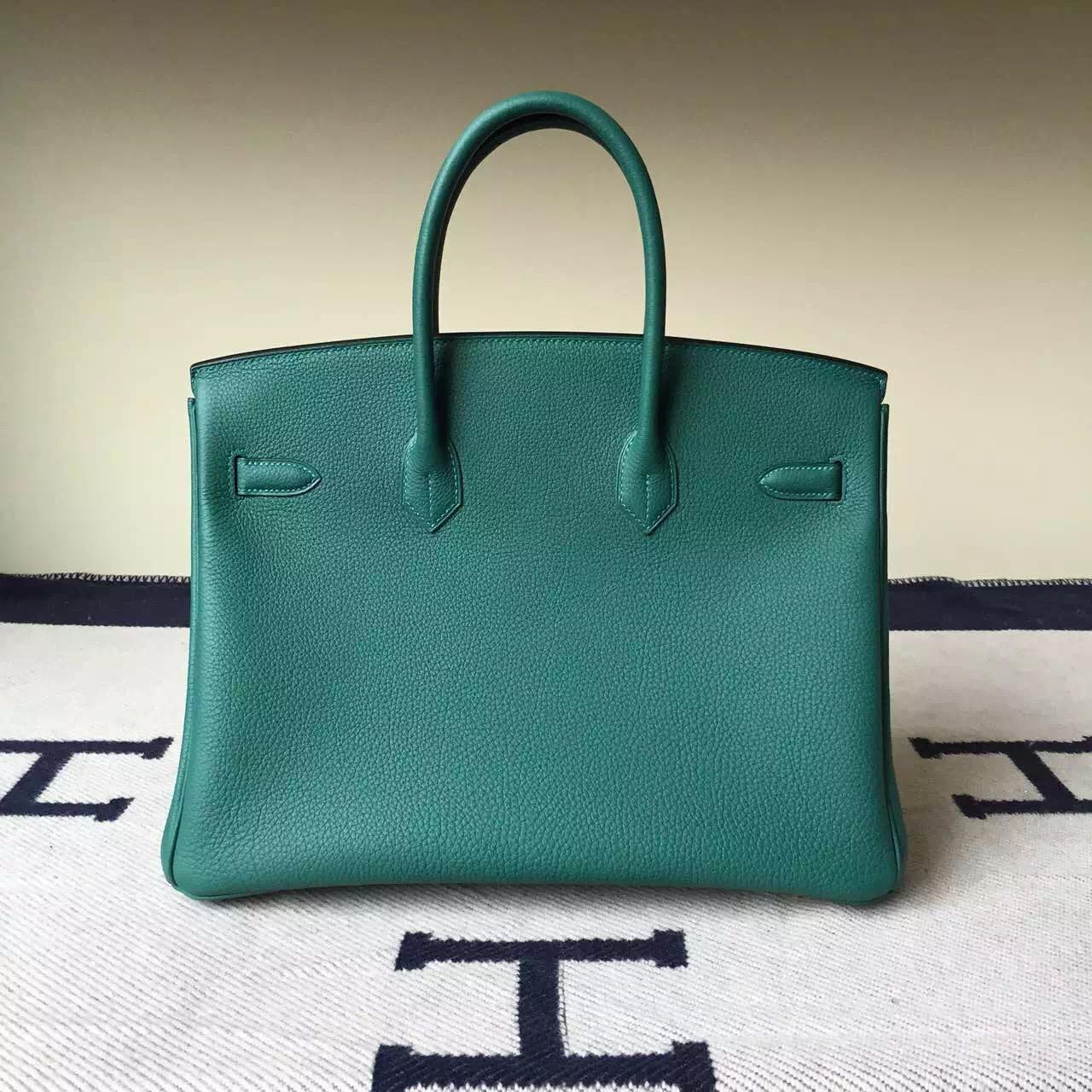 Sale Hermes Z6 Malachite Green Togo Calf Leather Birkin35cm Bag