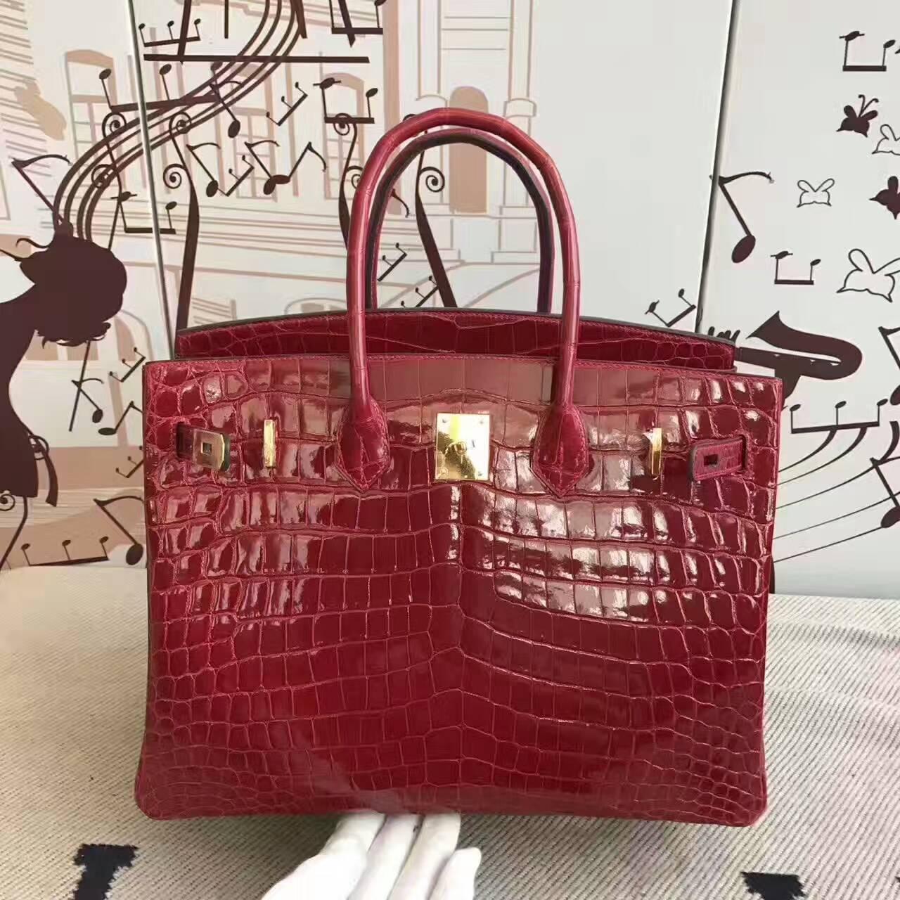Discount Hermes  CK55 Rouge Hermes Crocodile Shiny Leather Birkin 35cm Bag