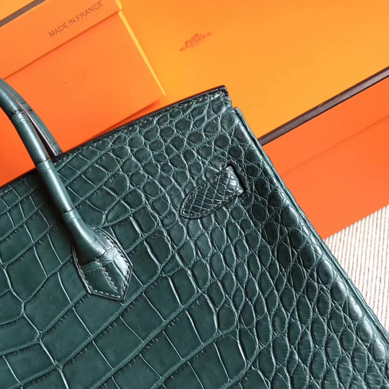 Discount Hermes Vert Tipien Crocodile Matt Birkin35cm Handbag Gold Hardware