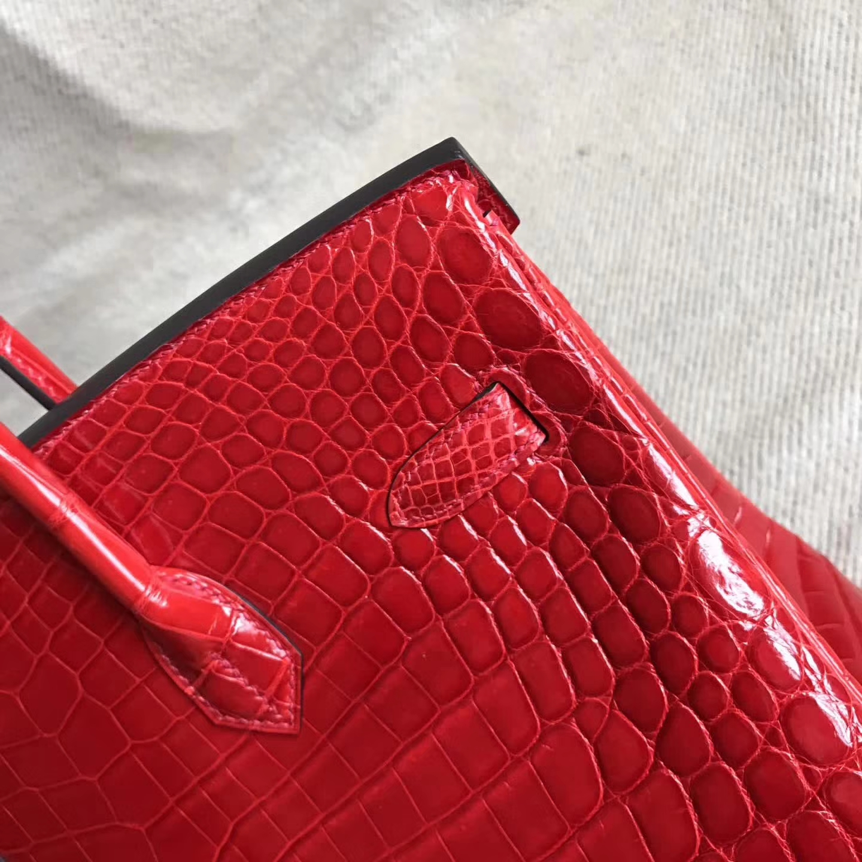 New Pretty Hermes CK95 Braise Shiny Crocodile Birkin Bag35cm Diamond Buckle