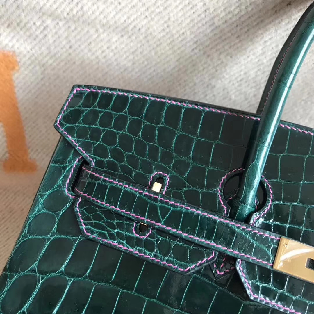 Luxury Hermes CK67 Vert Fonce & Candy Pink Crocodile Shiny Birkin35CM Bag