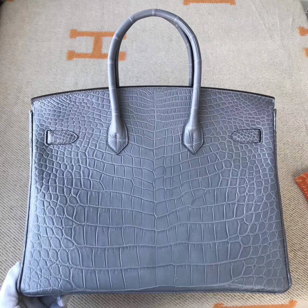 On Sale Hermes Galaxy Grey Crocodile Matt Leather Birkin35cm Tote Bag Silver Hardware