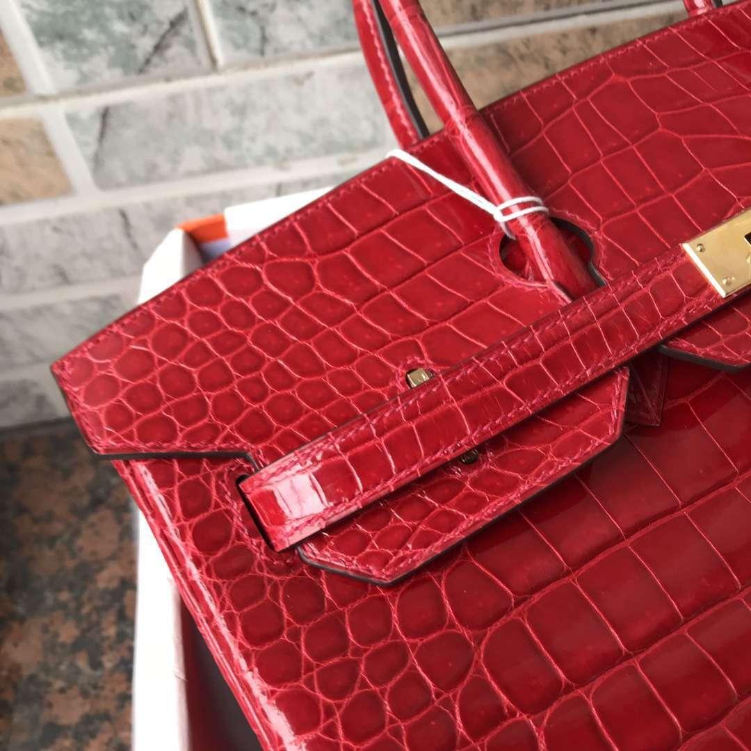Elegant Hermes CK95 Braise Porosus Shiny Crocodile Birkin35CM Bag Gold Hardware