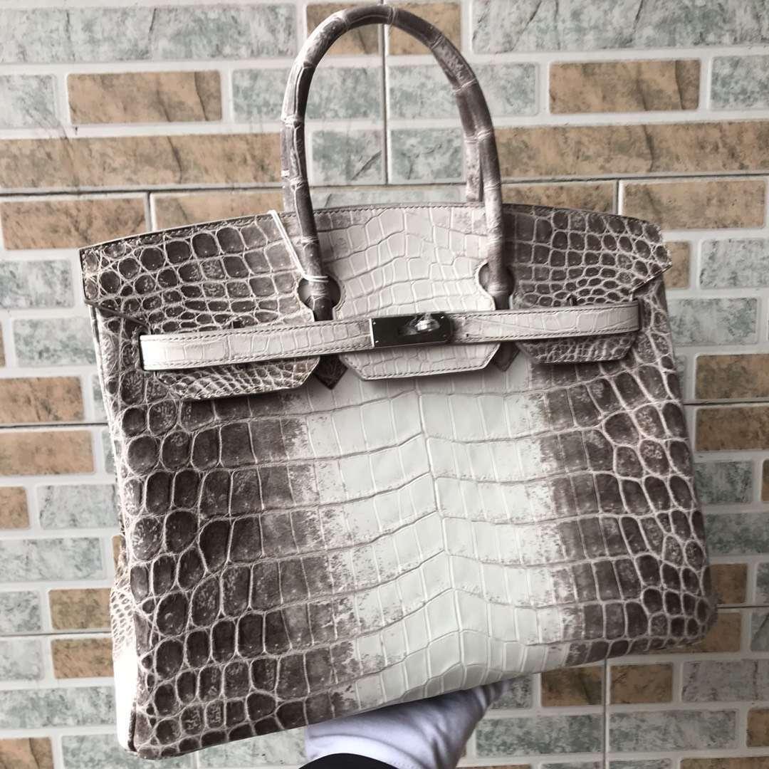 Noble Hermes Himalaya CrocodileLeather Birkin35CM Tote Bag Silver Hardware
