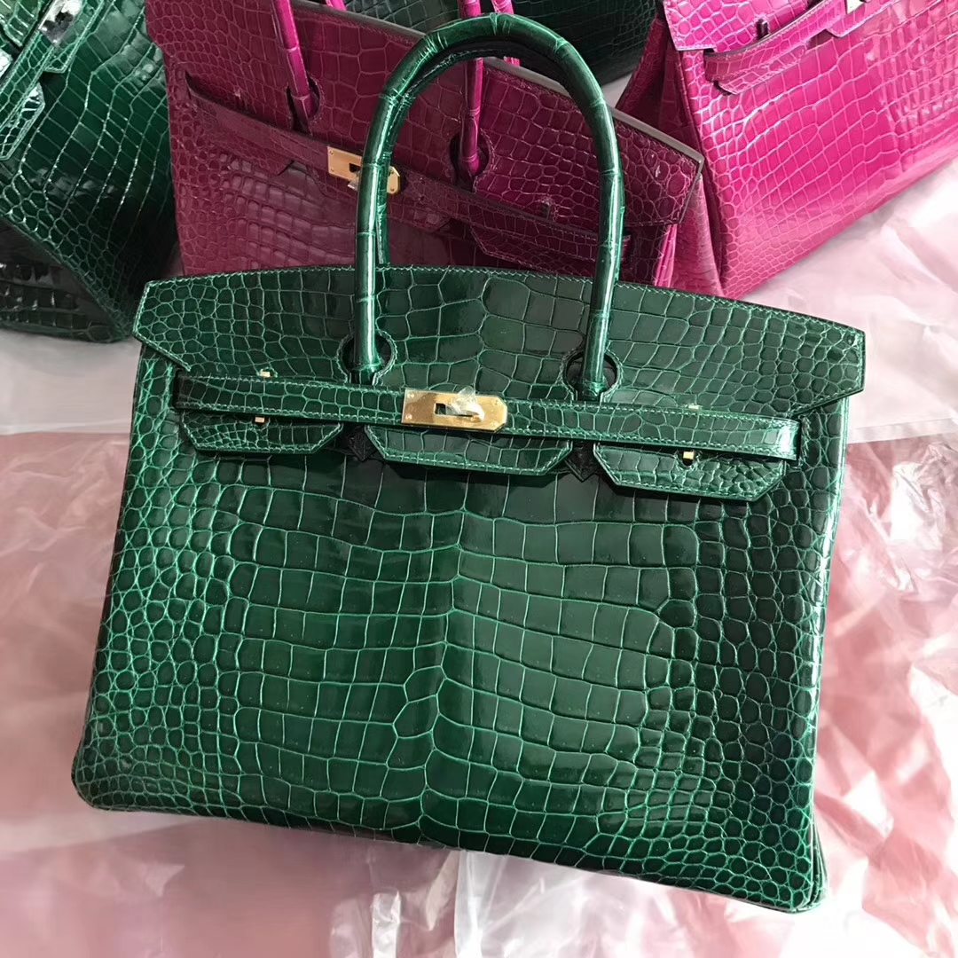 Discount Hermes CK67 Vert Fonce Shiny Crocodile Birkin35CM Bag Gold Hardware