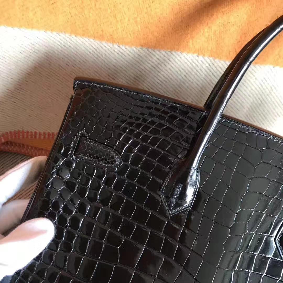 Luxury Hermes CK89 Black Crocodile Leather Birkin35CM Bag Gold Hardware