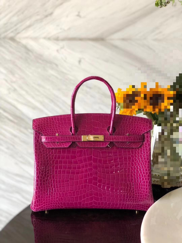 Fashion Hermes J5Rose Scheherazade Porosus Shiny Crocodile Birkin35CM Bag