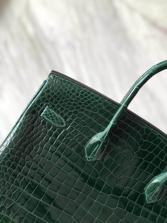Noble Hermes CK67 Vert Fonce Shiny CrocodileLeather Birkin Bag35CM