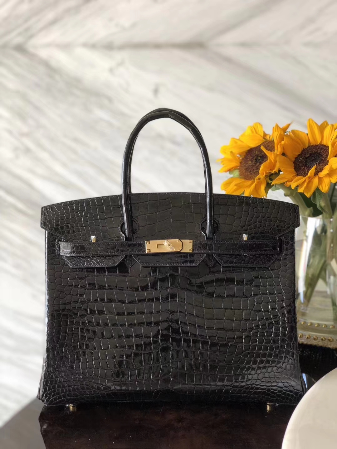 Sale Hermes Porosus Shiny Crocodile Birkin35CM Bag in CK89 Black