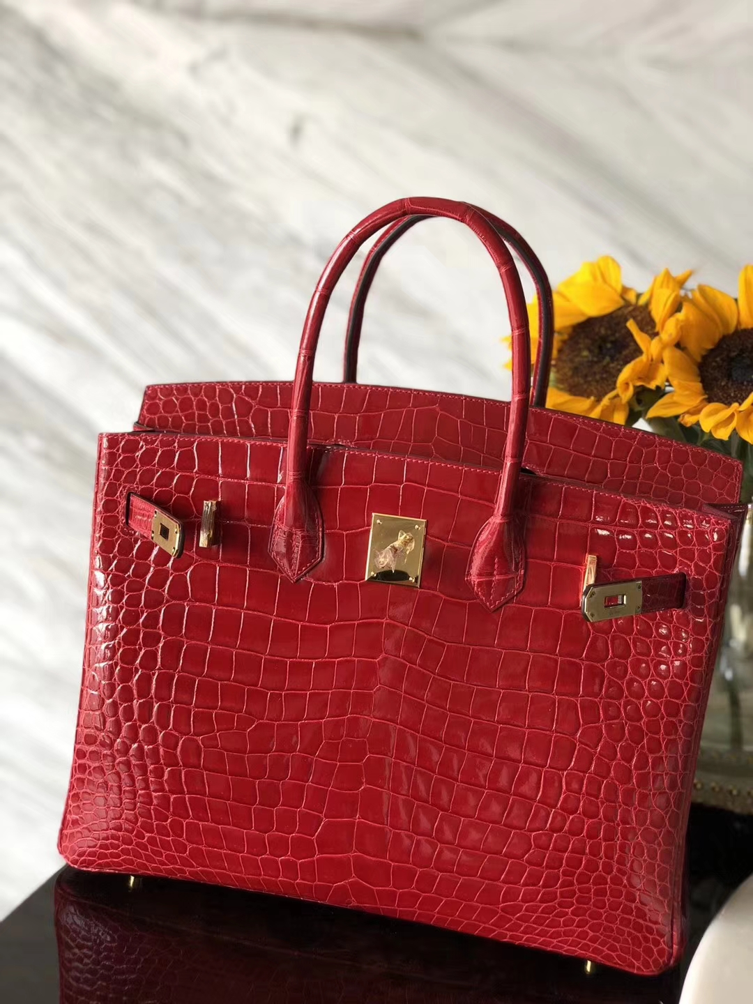 Pretty Hermes CK95 Braise Porosus Shiny Crocodile Birkin Bag35CM Gold Hardware