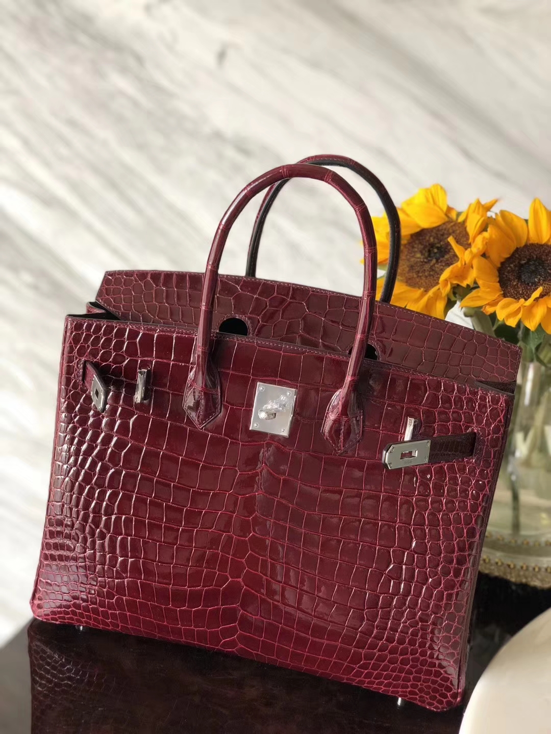 Discount Hermes F5 Bourgogne Red Shiny Crocodile Leather Birkin35CM Bag