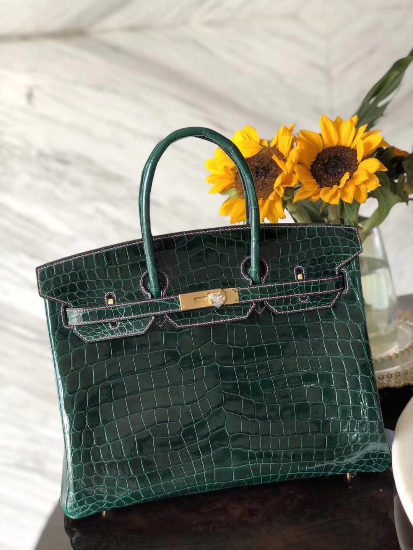 Wholesale Hermes CK67 Vert Fonce/Hot Pink Line Shiny Crocodile Birkin Bag35CM