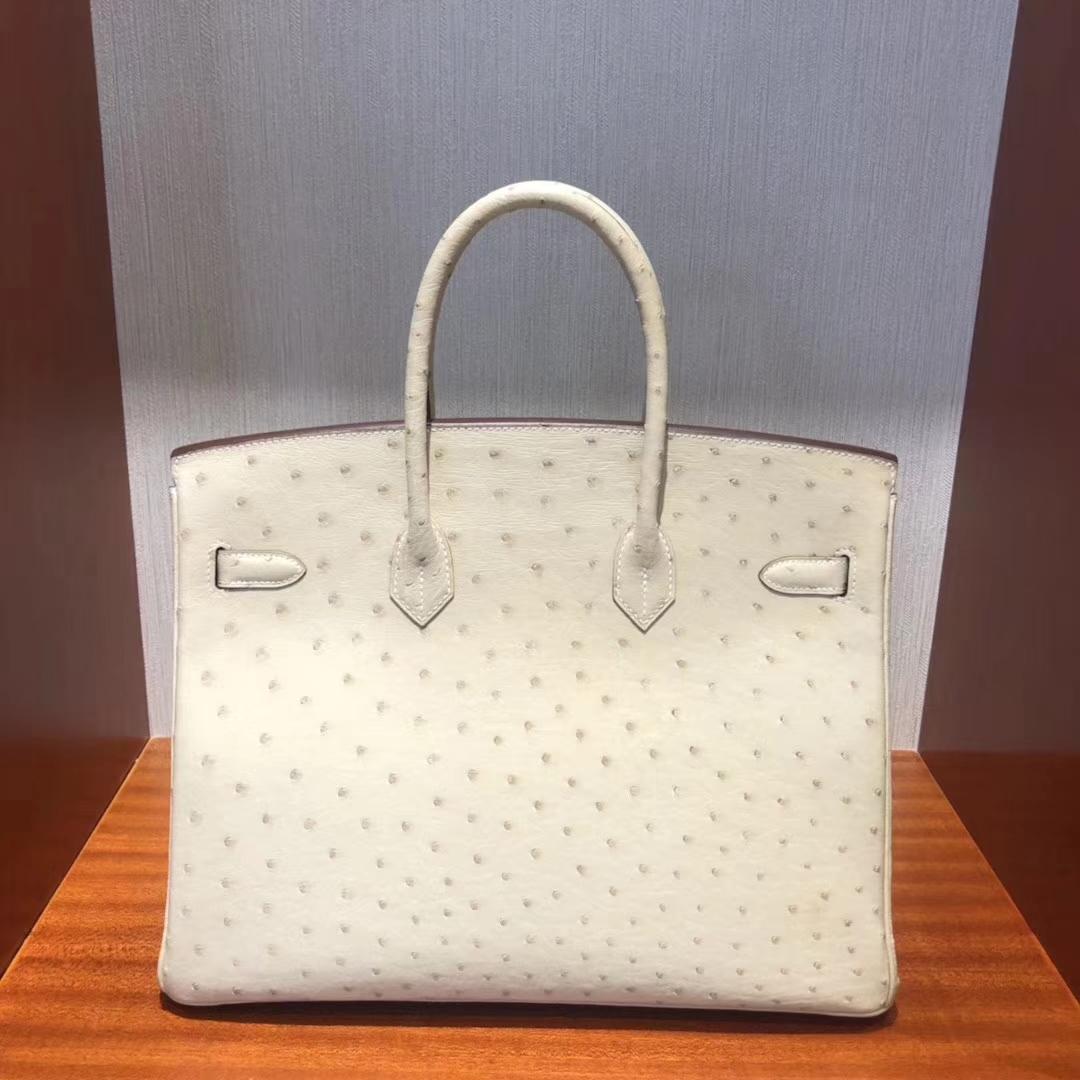 Wholesale Hermes 3C Wool White OstrichLeather Birkin35CM Bag Gold Hardware