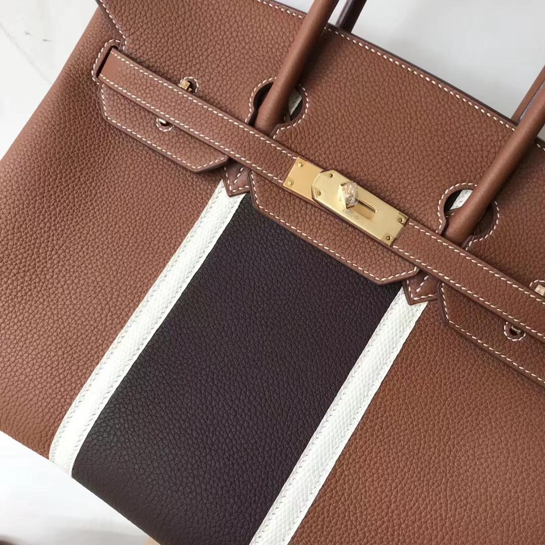 Wholesale Hermes Gold Togo CalfLeather & White Lizard Leather Birkin35CM Bag