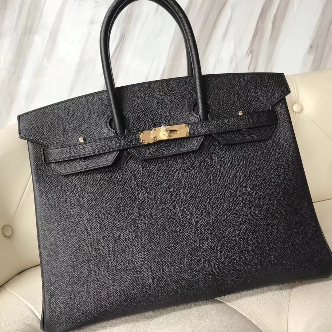 Fashion Hermes CK89 Black & Q5 Rouge Casaque inner Epsom Calf Birkin35CM Bag